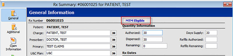 Rx Summary Screen