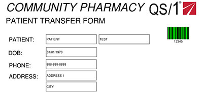 Community pharmacy - patient transfer form