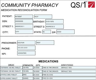 Community pharmacy - mediation reconciliation form