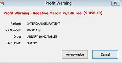Profit Warning Screen