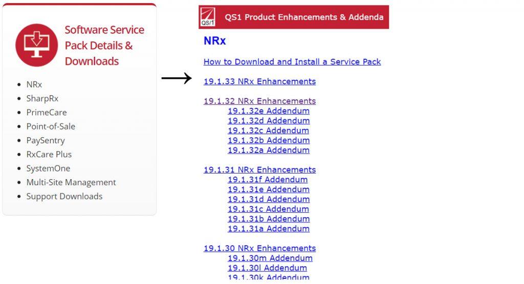 Screenshot: NRx Service Packs