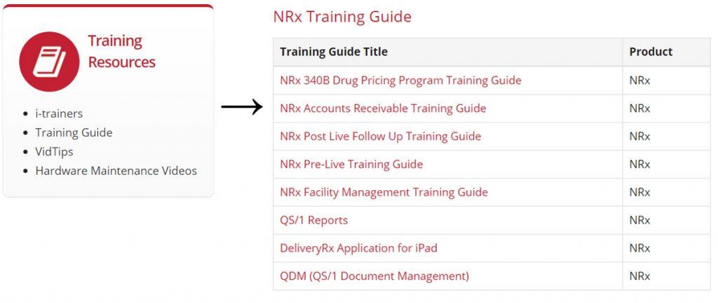 Screenshot: NRx Training Guides