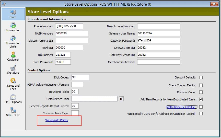 Screenshot: Store Level Options